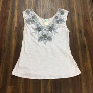 Anthropologie C Keer floral trimmed sleeveless top